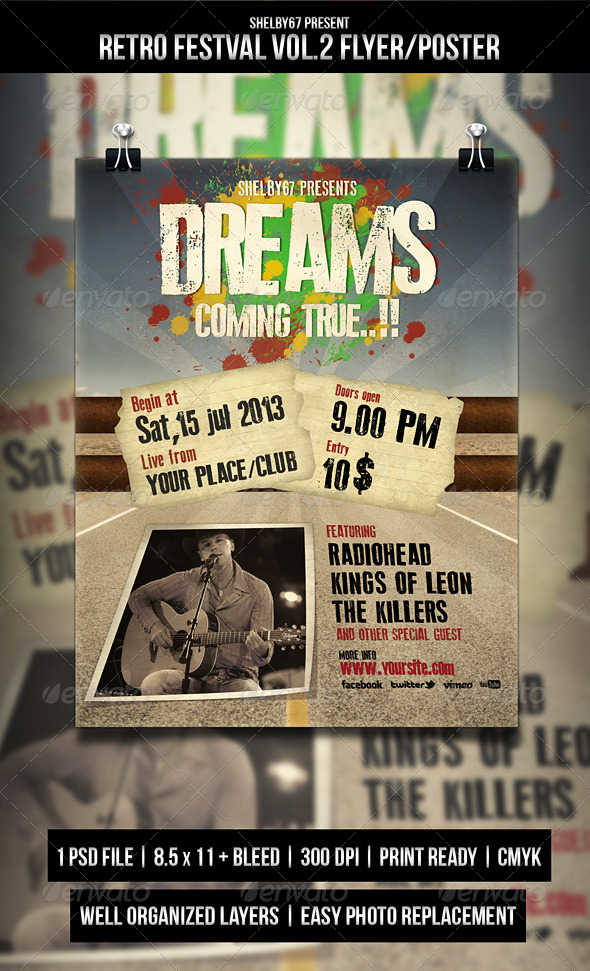 Retro Festival Flyer / Poster Vol.2 - Events Flyers
