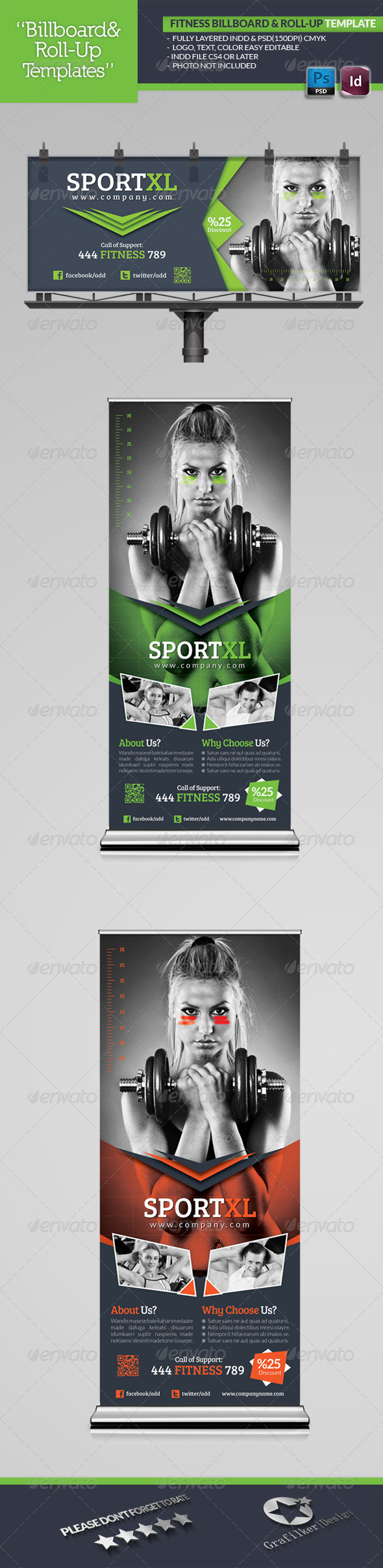 Fitness Billboard & Roll-Up Template - Signage Print Templates