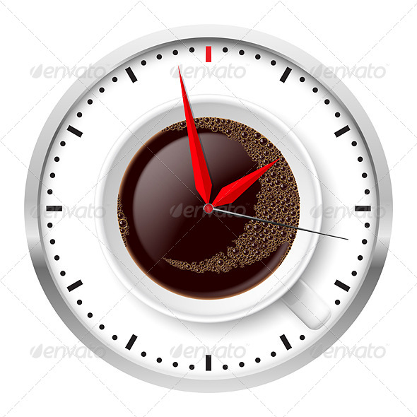 GraphicRiver Clock and Coffee Cup 5015181