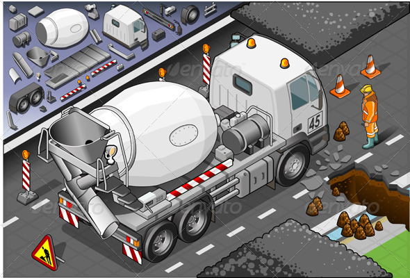 Isometric Cement Mixer Truck in Rear View