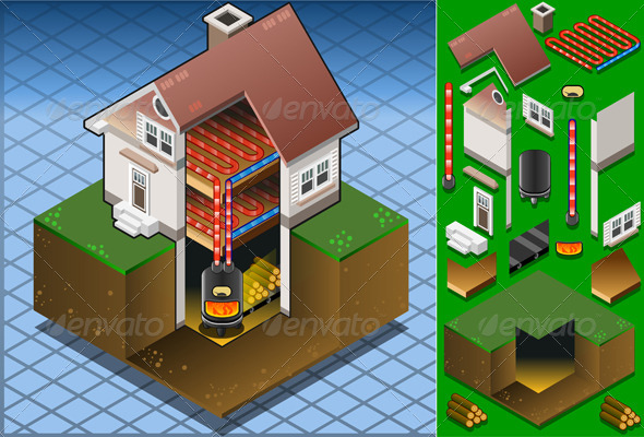 GraphicRiver Isometric House with Wood Fired Boiler 5015379