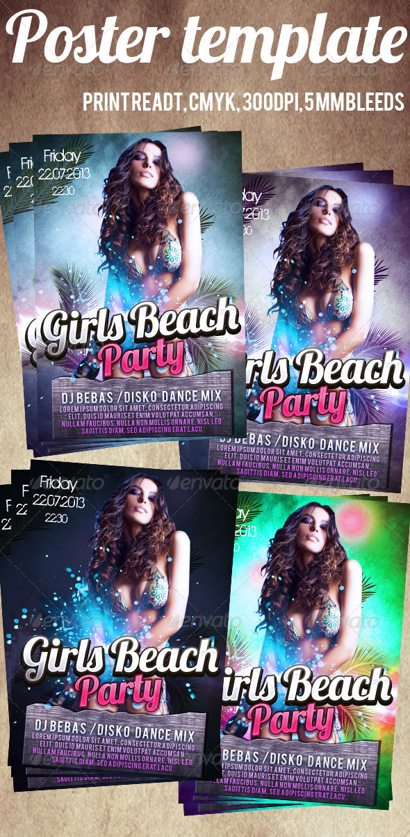 GraphicRiver Girls Beach Party Flyer 4271349