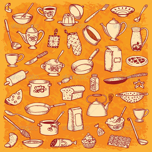 GraphicRiver Kitchen and Cooking Doodle Set Vector 5016096
