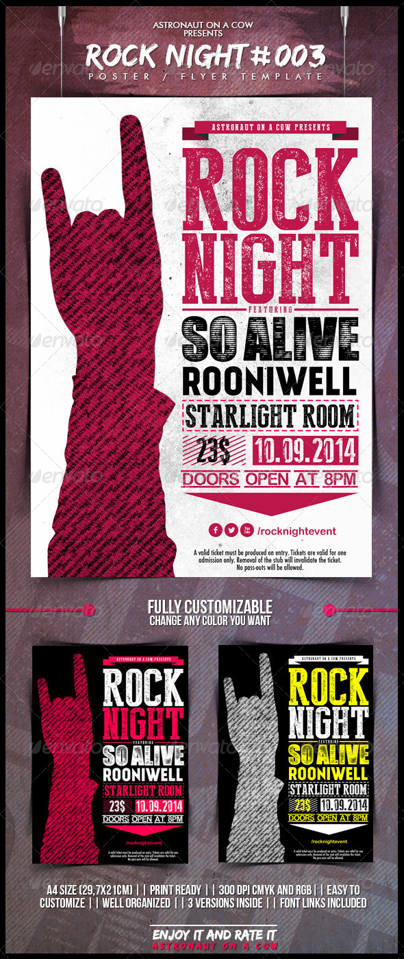 GraphicRiver Rock Night Poster Flyer N.003 5016100