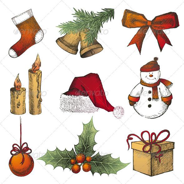 GraphicRiver Christmas Icons 4998586
