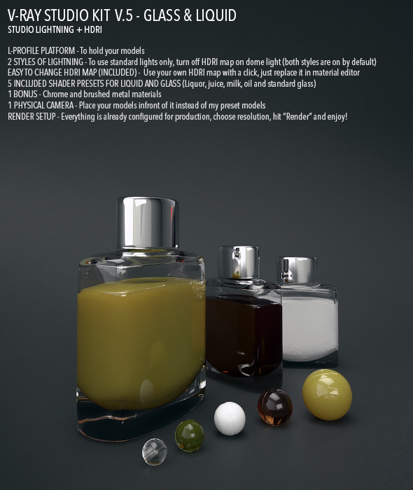 3DOcean Vray Studio Setup v.5 Glass & Liquid 5016117