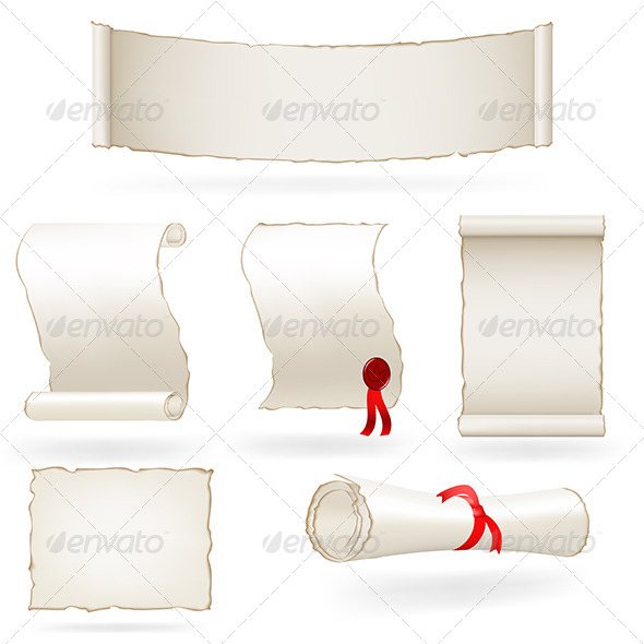 GraphicRiver Set of Old Paper Scrolls 5016302