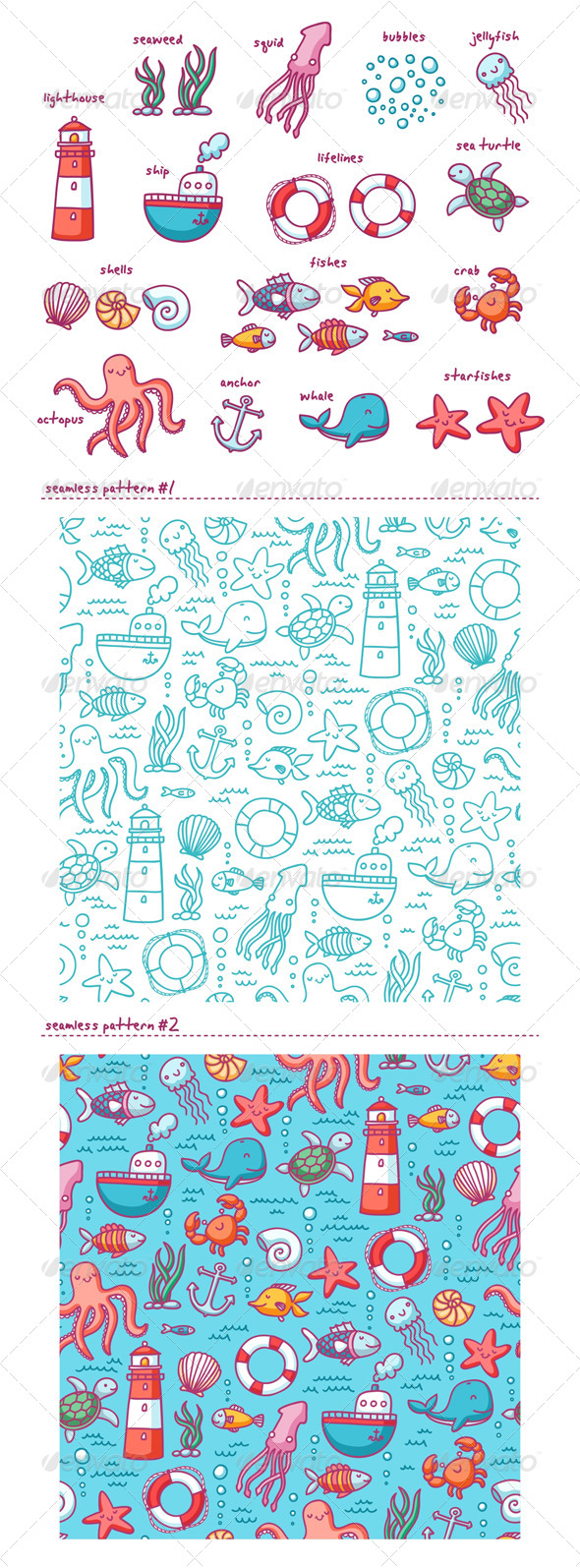 GraphicRiver Sea Doodles 5016500