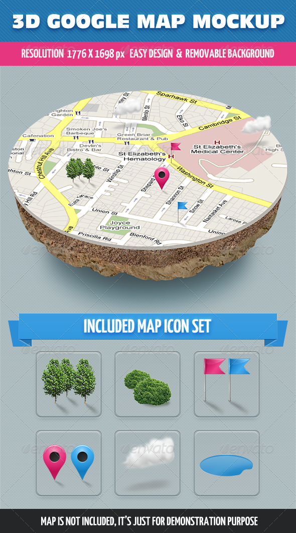 GraphicRiver 3D Map Mockup 4966623
