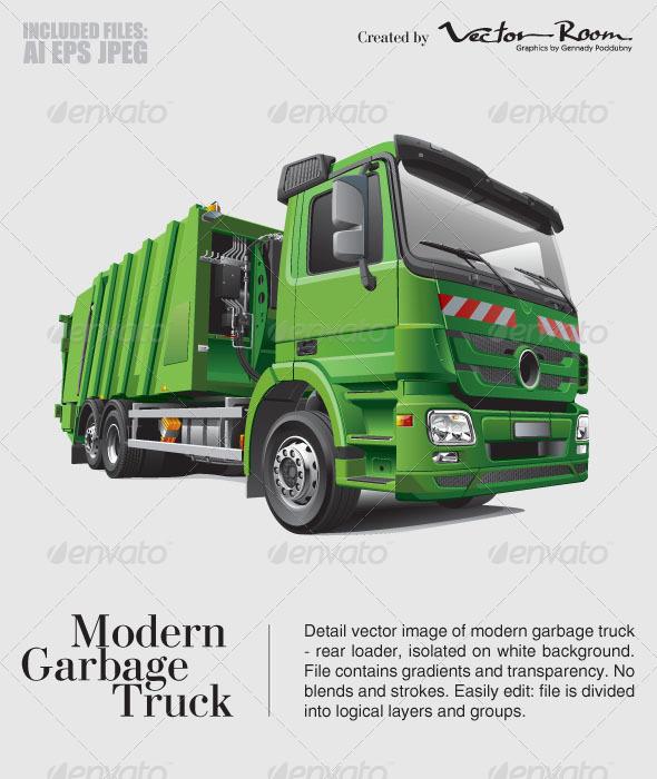 Modern Garbage Truck - Vectors