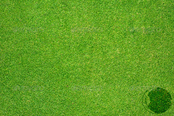 Eye icon on green grass texture and background - Stock Photo - Images