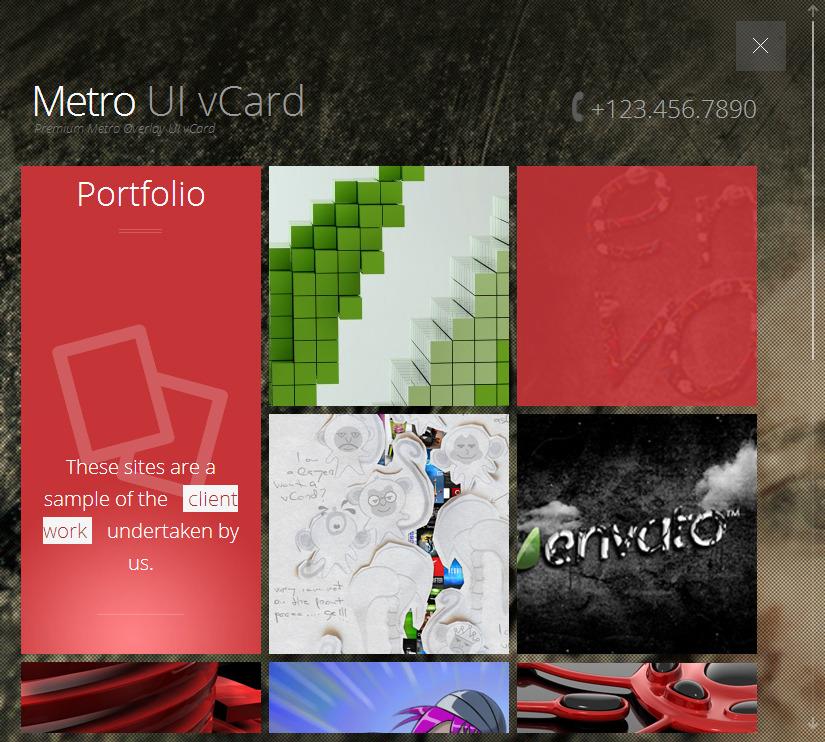 Metro Overlay Responsive vCard -Metro UI vCard