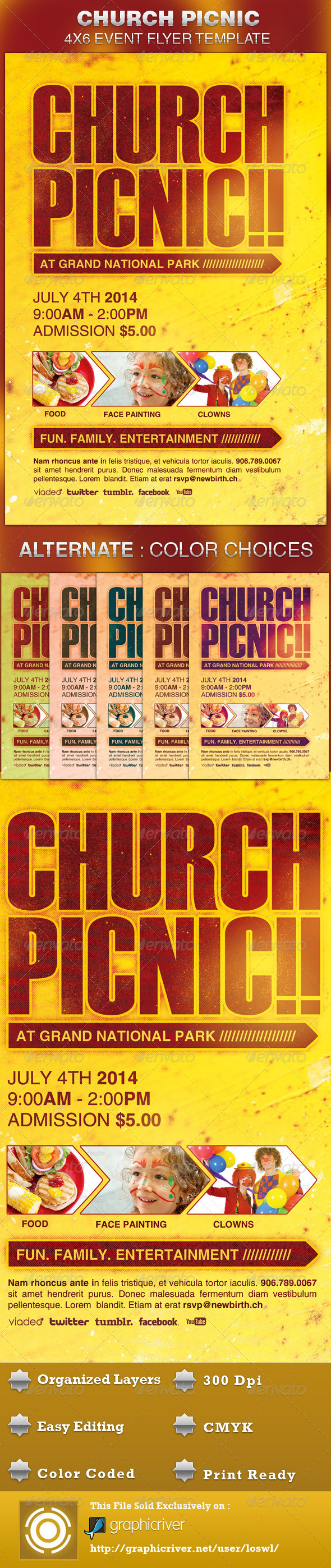 Church Picnic Flyer Template - Church Flyers