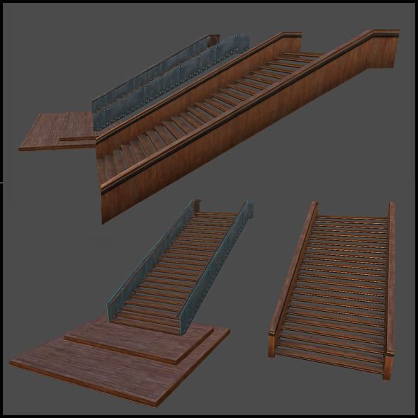 Luxury Wooden Staircase - 3DOcean Item for Sale