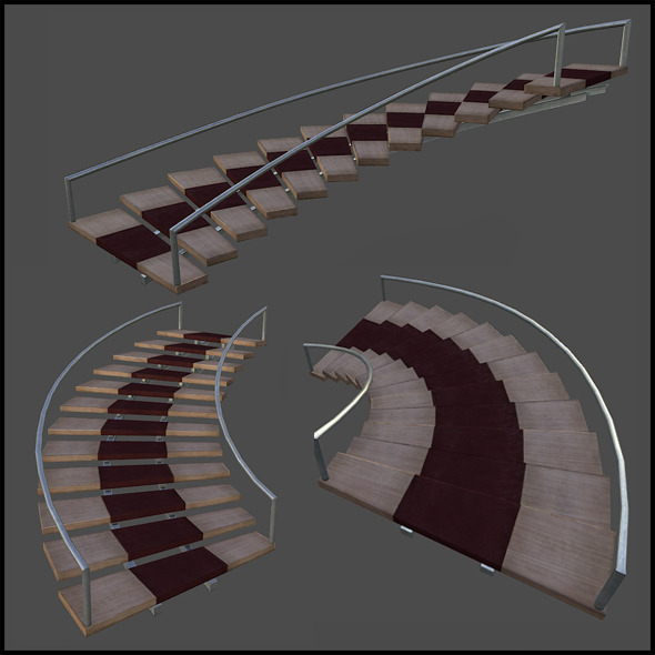 3DOcean Curved wooden staircase 5020855