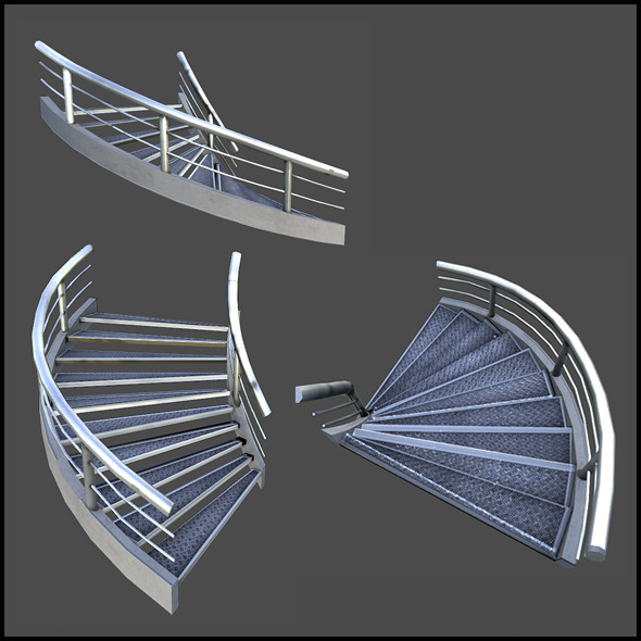 Curved Metal Staircase - 3DOcean Item for Sale