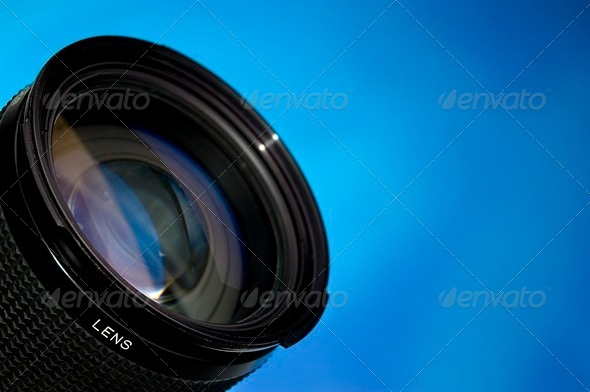 Stock Photo - PhotoDune Photography lens over blue 543874