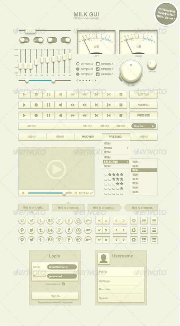 Milk GUI - User Interfaces Web Elements
