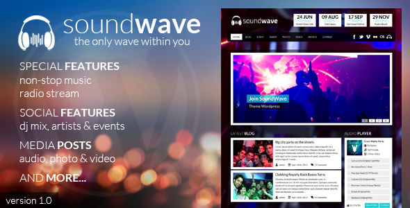 ThemeForest SoundWave The Music Vibe WordPress Theme 5011090