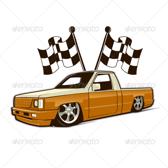 Race Car Truck and Flags