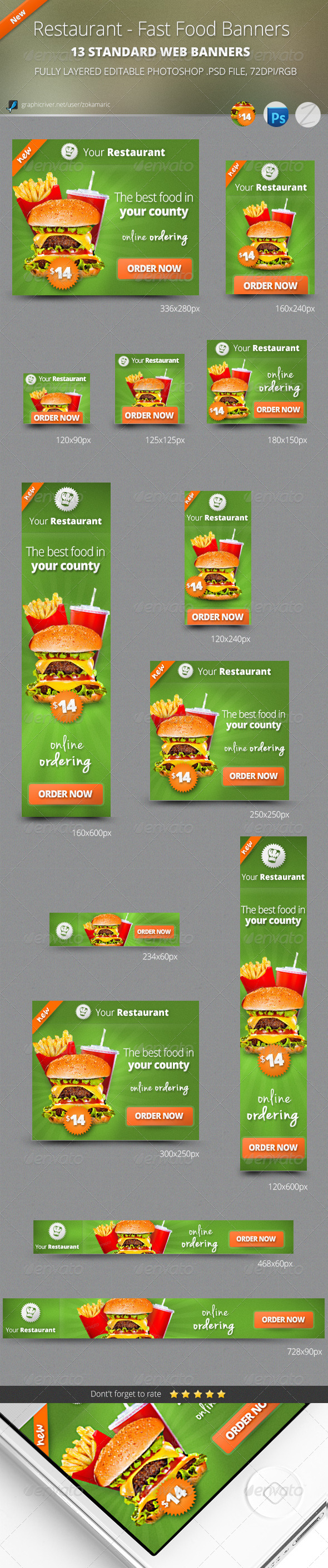 GraphicRiver Restaurant Fast Food Banners 5022898