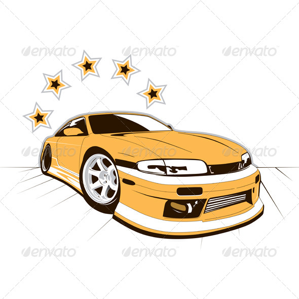 GraphicRiver Racing Car and Stars 5022977