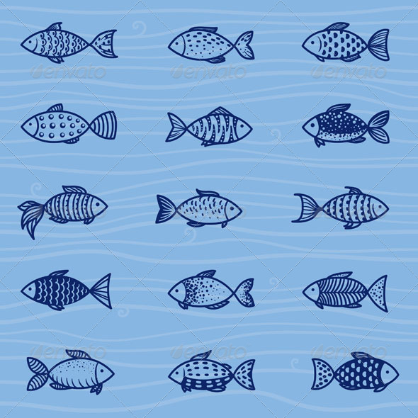 GraphicRiver Vector Fish Set 5009049