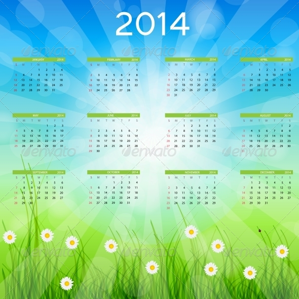 GraphicRiver 2014 New Year Calendar Vector Illustration 5023080