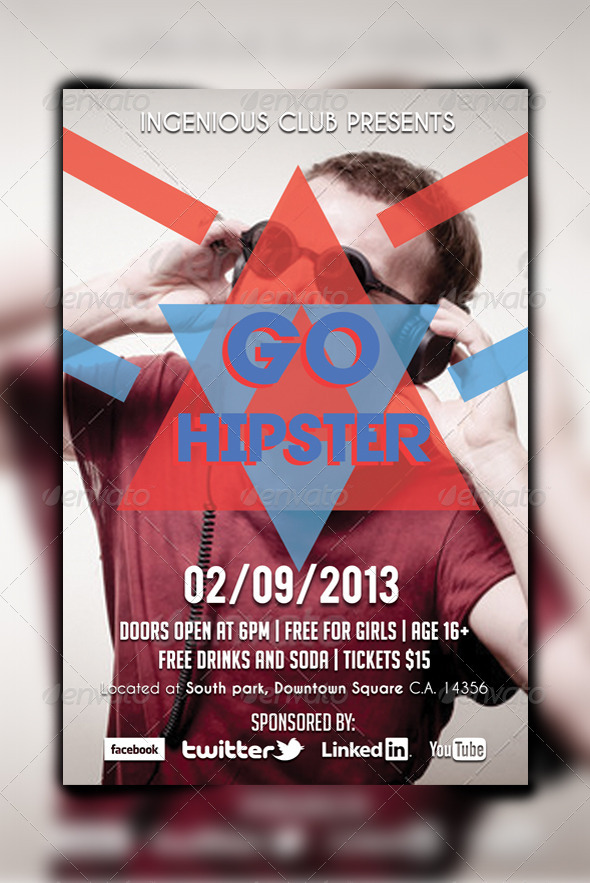 GraphicRiver Go Hipster Party Flyer 5023170