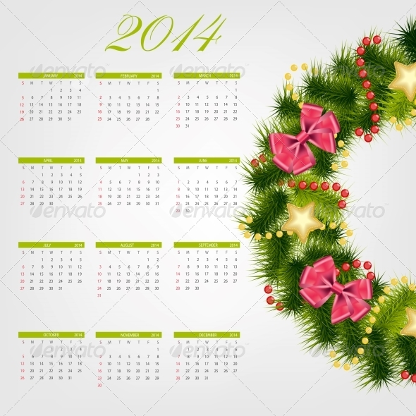 GraphicRiver 2014 New Year Calendar Vector Illustration 5023255