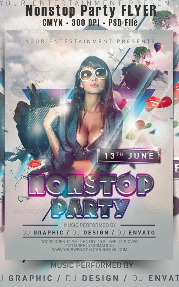 Nonstop Party Flyer - Events Flyers