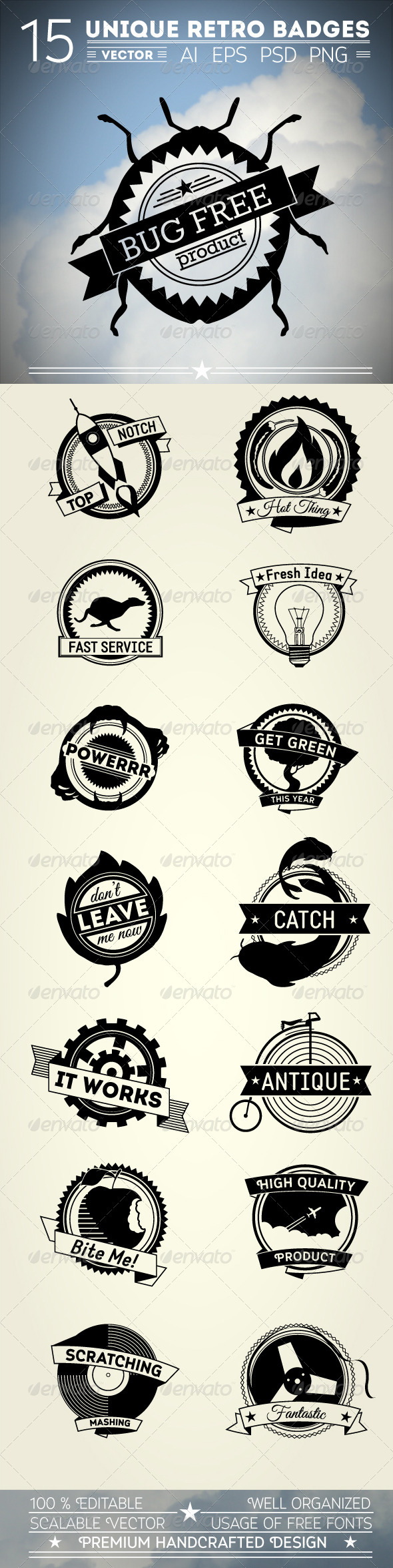 GraphicRiver 15 Unique Retro Badges 5009496
