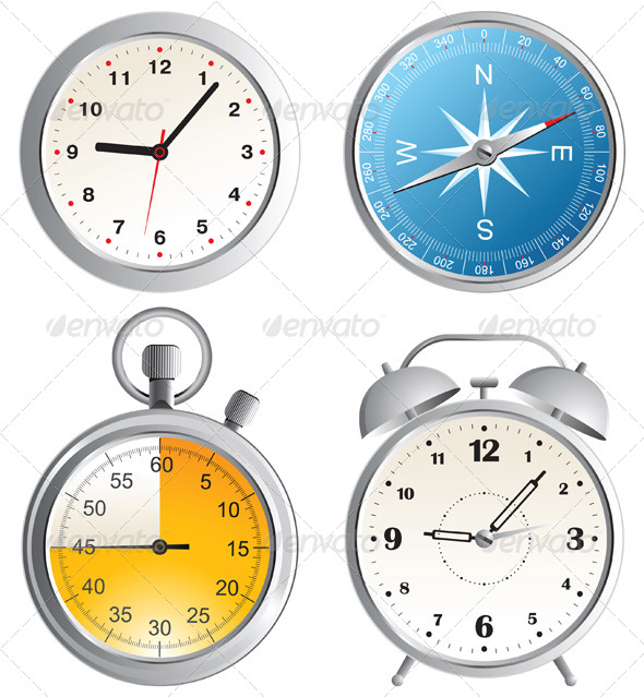 GraphicRiver Clock Alarm Clock Compass and Stop Watch Icons 5024453