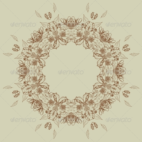 GraphicRiver Floral Frame with Roses 5024612