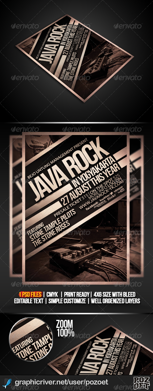 Java Rock Flyer/ Poster Template - Concerts Events
