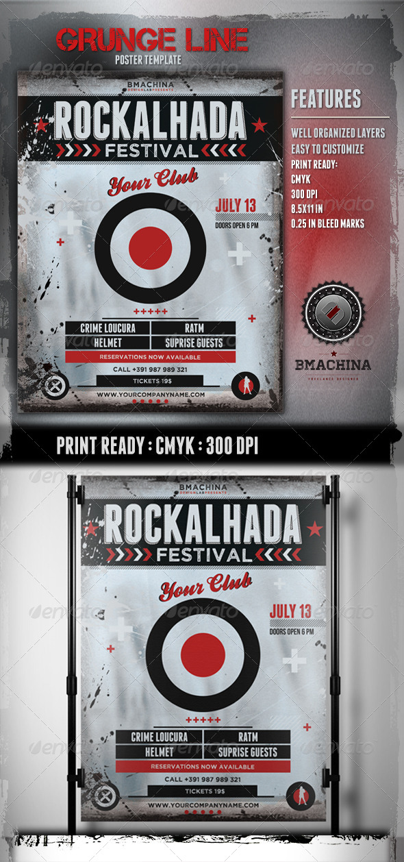 GraphicRiver Rockalhada Grunge Poster Template 5025668