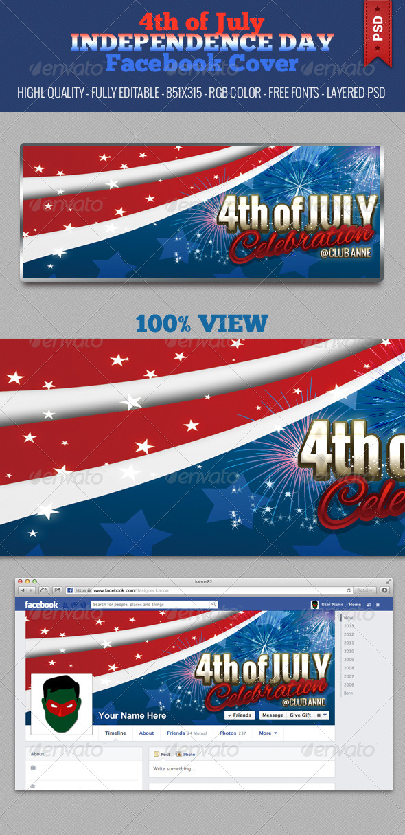 GraphicRiver 4th of July Independence Day Facebook Cover V3 5026533