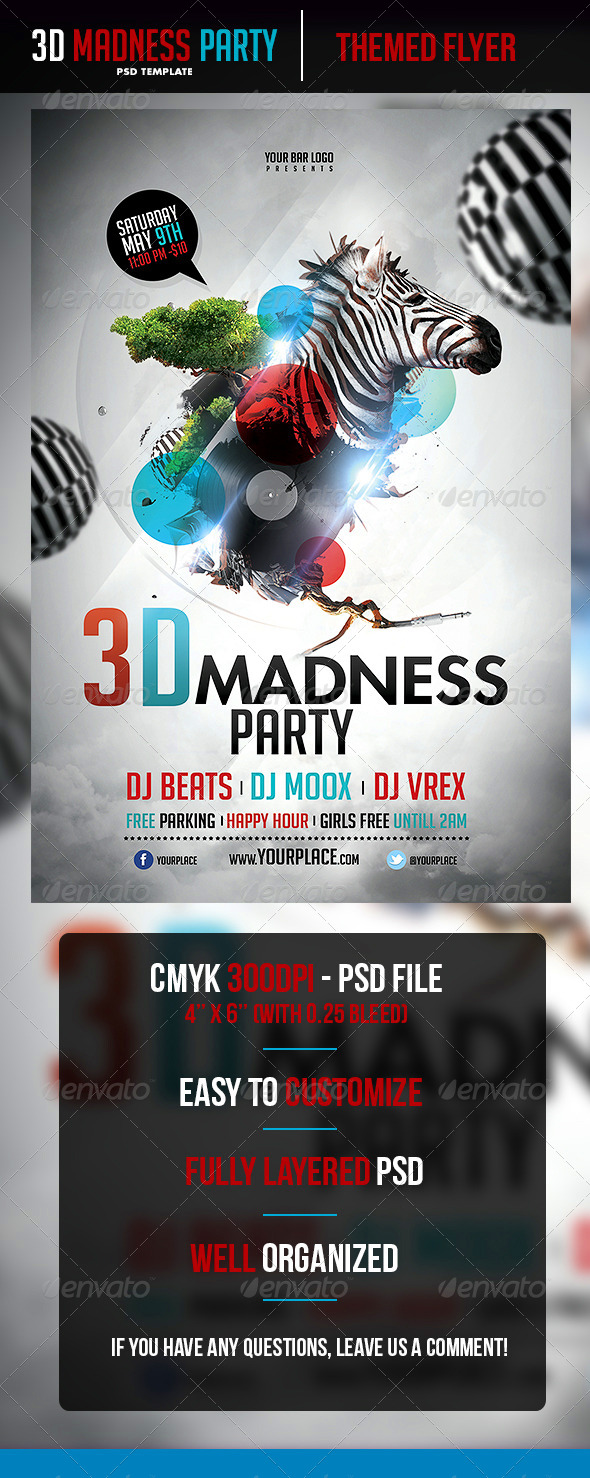 3D Madness Flyer Template