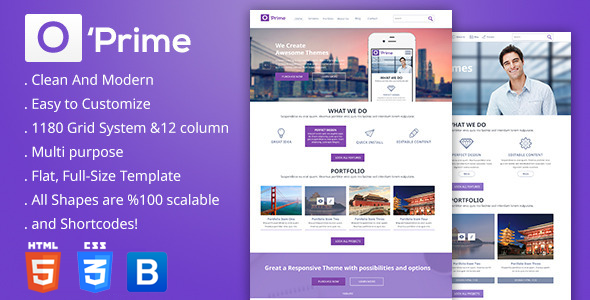 O'prime Multi Purpose Responsive HTML Template