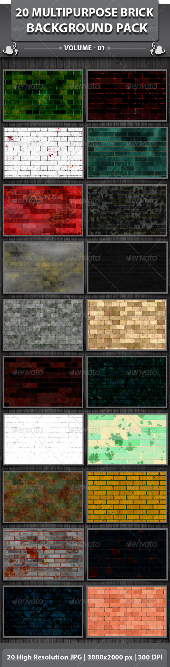 GraphicRiver 20 Multipurpose Brick Background Pack 5027098