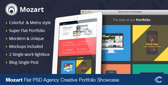 Mozart Flat Responsive Onepage PSD
