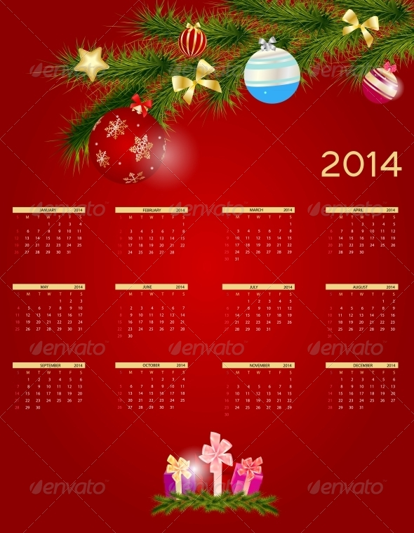 GraphicRiver 2014 New Year Calendar 5028119