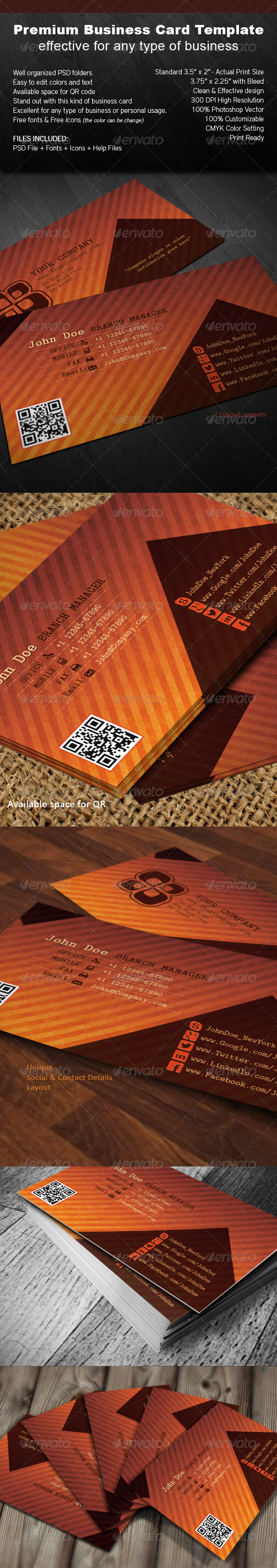 GraphicRiver Orange Brown Business Card 4947741