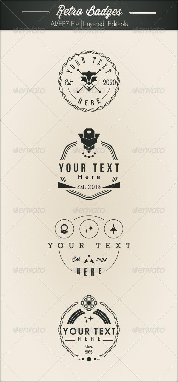 GraphicRiver 4 Futuristic Retro Badges 5028386