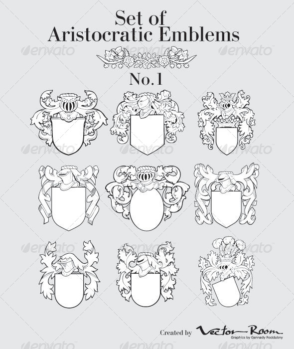 Set of Aristocratic Emblems No1 - Vectors