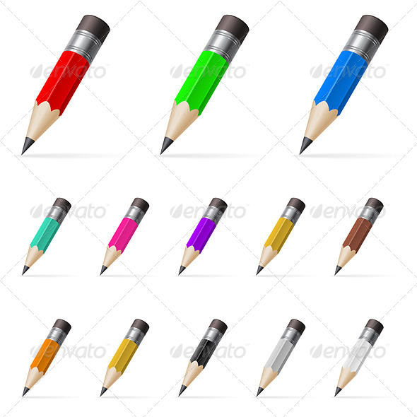 GraphicRiver Rows of Standing Color Pencils 5031862