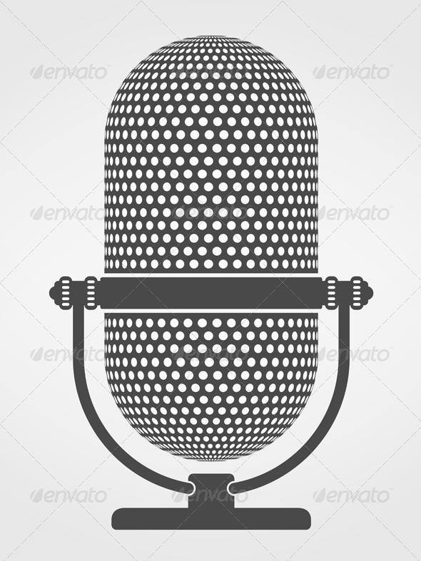GraphicRiver Microphone Silhouette 5032710