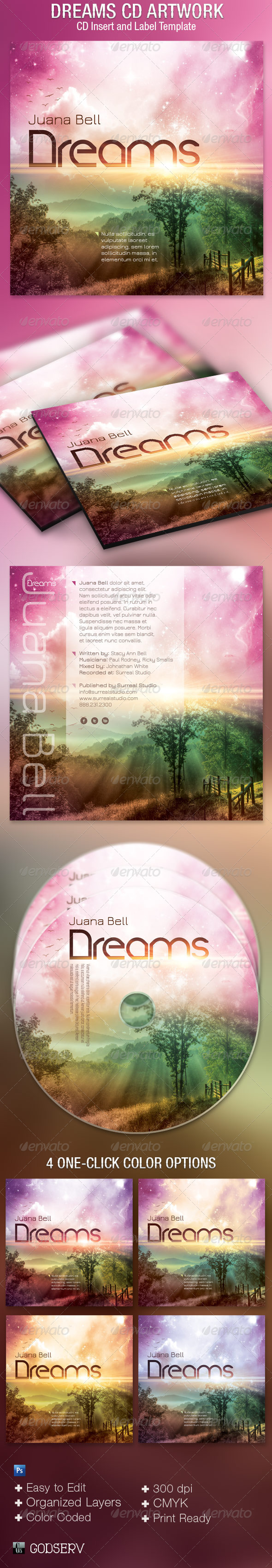 Dreams CD Artwork Template - CD & DVD Artwork Print Templates
