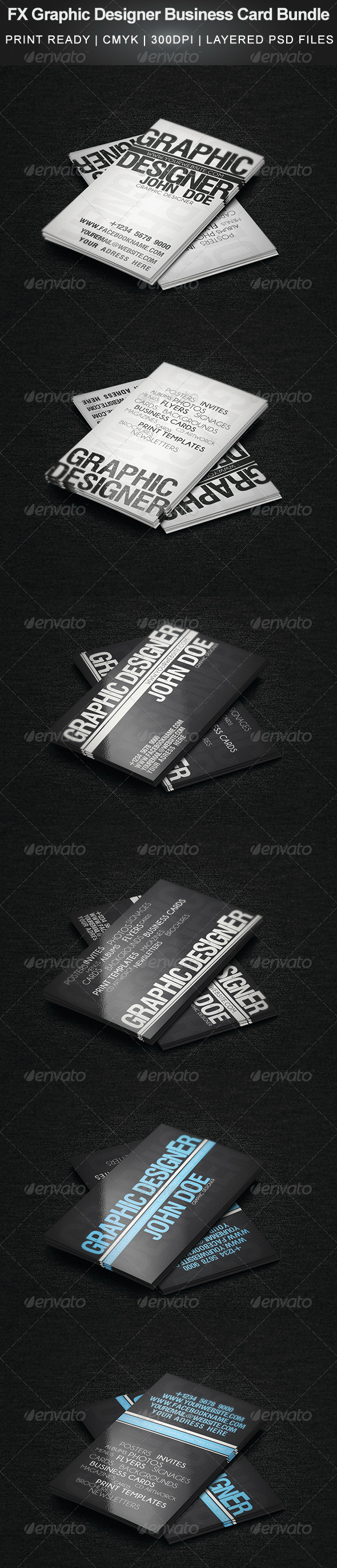 FX Graphic Designer Business Card Bundle - Business Cards Print Templates