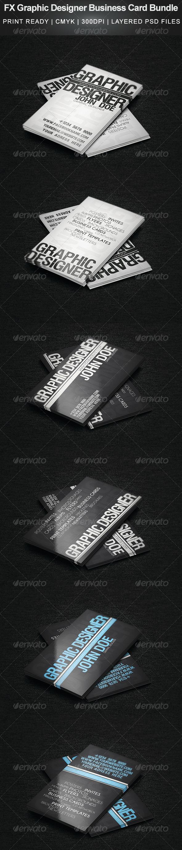 GraphicRiver FX Graphic Designer Business Card Bundle 5033606